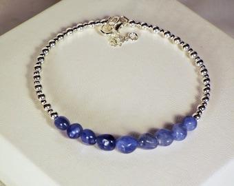 "Cynthia Lynn ""SHINE"" Sterling Silver Blue Kyanite Nugget Bangle Bracelet with Clasp"