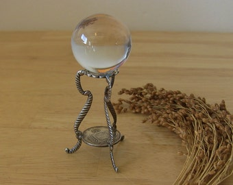 Crystal Ball with Crafted Antique Silver Coin Base