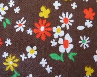 70's vintage orange yellow flower print on brown cotton fabric