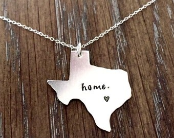 Custom Sterling Chain Necklace Long Distance Relationship State or USA Texas Necklace Choose Your State