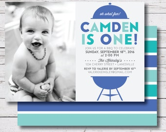 printable birthday party invitation / little boy birthday invitation / first birthday invite / first birthday bbq / 5 x 7