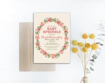 INSTANT DOWNLOAD baby sprinkle invitation / floral sprinkle invite / baby girl sprinkle / floral wreath invitation / diy invitation