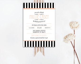 INSTANT DOWNLOAD bridal shower invitation / striped bridal shower / classy bridal shower / french bridal shower / black and white invitation