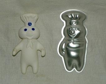 Vintage 1970's Pillsbury Doughboy Metal Cake Pan Jell-O Mold & Poppin' Fresh Vinyl Figure Lot