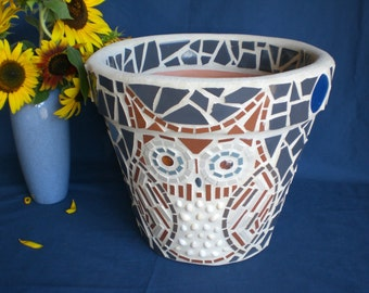 Cute Owl Mosaic Flower Pot/Planter, Original Handmade One of a Kind Owl Mosaic, Garden Yard Owls 3 Slightly Different with Big Blue Moons