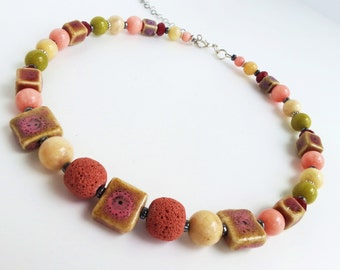 Statement Bib Necklace, Collar Necklace, Statement Necklace, Gemstone Necklace