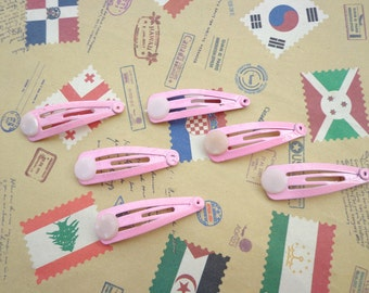 SALE--50 pcs---Pink Hair Snap Clip With Flat Pad