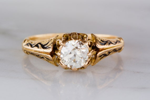 Early Old European Cut Diamond (.85ct) in 18K Gold Victorian / Art Nouveau Engagement Ring with Black Enamel R941