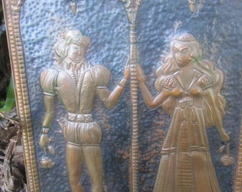 Copper Relief Hammered/Pressed Romeo and Juliet Plaque