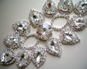 Beaded Rhinestone, bridal applique, decor for a dress, DIY Wedding, Wedding supplies.