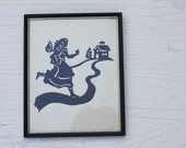Reserved for Melissa - Vintage Hand Cut Silhouette of Little School Girl, Framed Silhouette - Great Teacher Gift!