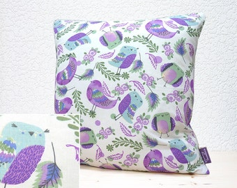 """Handmade 16""""x16"""" Cotton Cushion Pillow Cover Pale Mauve/Purple/Green Cute Patterned Feathered Birds/Floral/Leaves Design Print on White"""