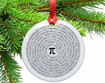 Value of Pi Geeky Ceramic Christmas Ornament