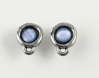 1 pair (2 pieces) of pewter post earring with glass cabochon& back stopper , 11.5mm  #FIN E 019-2