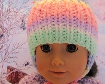18''Doll Colorful Winter Hat ,Hand Knit to Fit 18'' Dolls,Outdoor Wear,Winter Hat, Ski Hat,Casual Wear,Play Hat,Fun Hat,Outer Wear,Hand Knit