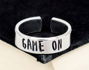 Game On Ring - Video Game Jewelry - Adjustable Aluminum Rings