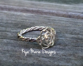 Flower Ring, rose ring, twisted band stack ring, Sterling Silver Argentium Silver Stack Rings, Nature flower rings