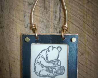 Winnie-The-Pooh, framed with copper,dangly!x