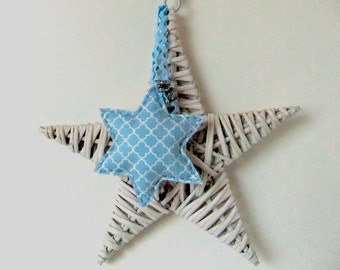 Christmas star of fabric and felt with Wicker star, Christmas star