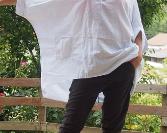 White Linen Shirt Extravagant Shirt Tunic Oversize Asymmetrical Tunic & Nara LT003