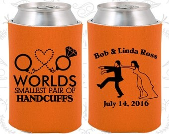 Orange Wedding, Can Coolers, Orange Wedding Favors, Orange Wedding Gift, Orange Wedding Decorations (453)