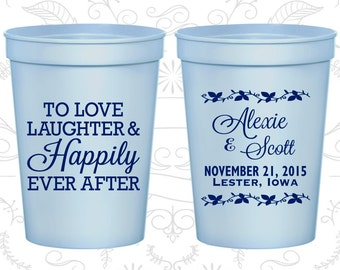 Love Laughter Cups, Custom Party Cups, Floral Wedding Cups, Rustic Wedding Cups, Plastic Cups (32)