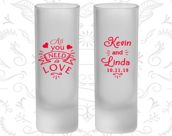 All You Need is Love Wedding, Frosted Tall Shot Glasses, Southern Wedding, Hearts (221)