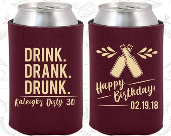 30th Birthday, 30th Birthday Favors, Unique Party Gifts, Drink Drank Drunk, Happy Birthday, Party Favors (20289)