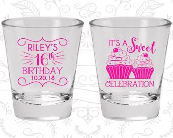 16th Birthday Shot Glass, Sweet 16 Shot Glass, It's a sweet celebration, Cupcake Birthday Shot Glass, Birthday Shot Glass (20041)