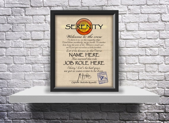 Custom Firefly Serenity ship crew acceptance letter - Choose Inserts, Size, and Frame