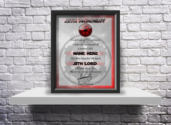 Sith Academy custom graduation certificate Choose Size, Inserts, and Frame