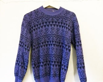 Purple Patterned Sweater