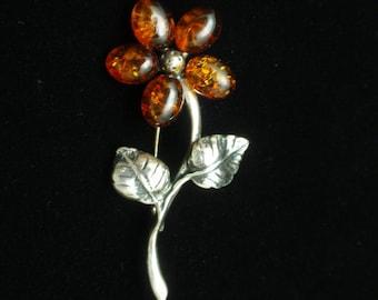 Amber Rose Flower Pin Brooch