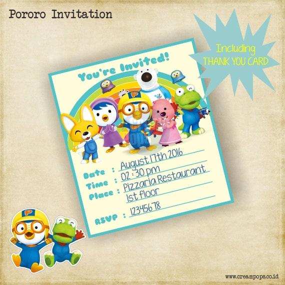 Printable pororo birthday invitation thank you card stopboris Images