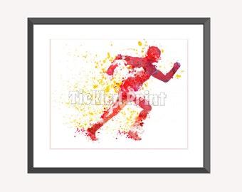The Flash Barry Allen Art Print, DC Comics Art, Watercolor Art Print 8x10 10x12 12x16 16x20 A3 A2 A1 Wall Art Poster Decor