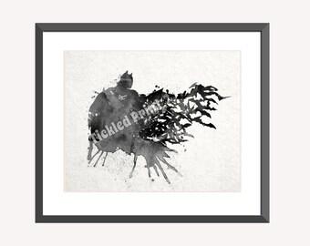 Batman Art Print, Black & White, DC Comics Superhero Art, Dark Knight Art Print 8x10 10x12 12x16 16x20 A3 A2 A1 Wall Art Poster Decor