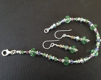 Green and Lavender Swarovski Crystal Sterling Silver Bracelet and Earrings Set (S5)