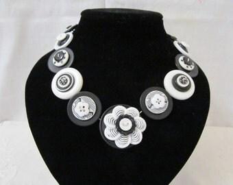 Button Necklace Black and White Button Necklace Button Necklace, Retro Vintage