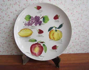 Vintage Eagle Brand Ironstone Ware Serving Plate Dish Handpainted Ceramics Fruit Apple Strawberries Leaves Marsala Yellow Orange Kitchenware