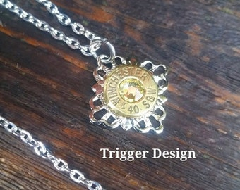 40 Caliber Bullet Necklace with Filigree Base Necklace - Yellow