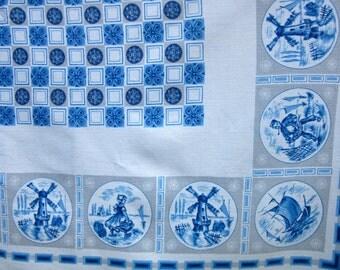 """vintage cotton tablecloth / Dutch scenes / 38"""" x 42"""""""