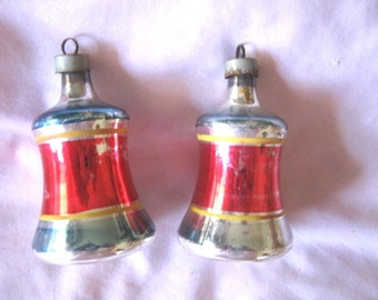 2 Antique Japan Silver Christmas Bells Mercury Glass Ornaments Striped Red Vintage Balls