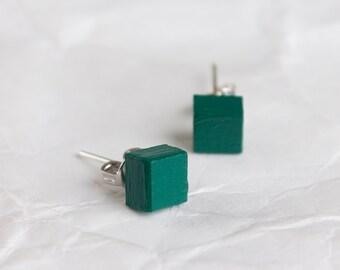 Stud earrings, tiny earrings, green stud earrings, dark green earrings, earrings studs, FREE SHIPPING, wooden earrings, minimalist