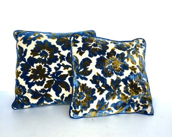 Mid-Century, Retro Blue and Green Floral  Flocked Pillows
