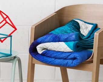 Adrian Quilt - Teal - Digitally Printed Velvet Quilt