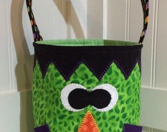 Trick or Treat Bag, Halloween Bag, Frankenstein Bag, Pumpkin Quilted Tote,Candy Bag, Quiltsy Handmade, Frankenstein