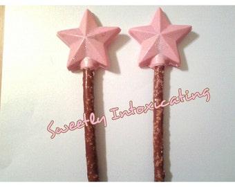 12 Twinkle Twinkle Little star pink iridescent  glitter chocolate pretzel rods. 1st birthday, baby/bridal shower, weddings, engagement decor