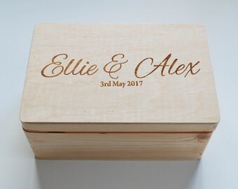 Personalised Wooden Wedding box, Mr&Mrs box, Personalised box, Keepsake box, Memory Box, Made to Order