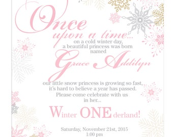 DIGITAL FILE: Winter Wonderland invitations with elegant font adn cascading snowflakes