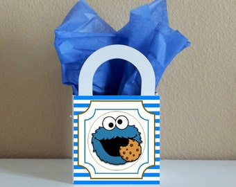 SALE! Small Boxes 3x3x2.5 inches Cookie Monster Favor Boxes Cookie Monster Favor Bags Cookie Monster Popcorn Box Cookie Monster Party Favor
